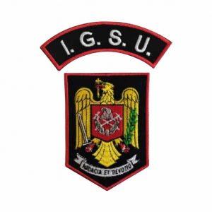 Emblema Pompieri IGSU - Sigla Brodată. Grade Militare, Embleme, Ecusoane, Nominale si Insemne pentru uniforma de politie, armata, militara, de vanzare. POLITIE, SRI, POMPIERI, MAPN.