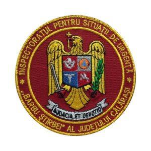 Emblema ISU Calarasi brodata - Insemne oficiale/profesionale si grade militare pentru Inspectoratul pentru Situații de Urgență –IGSU, Pompieri