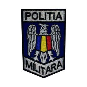 Emblema/Ecuson Politia Militară brodată - fond albastru - 10,5x7cm. Va oferim de asemenea ecusoane brodate MAPN si embleme brodate MAPN.