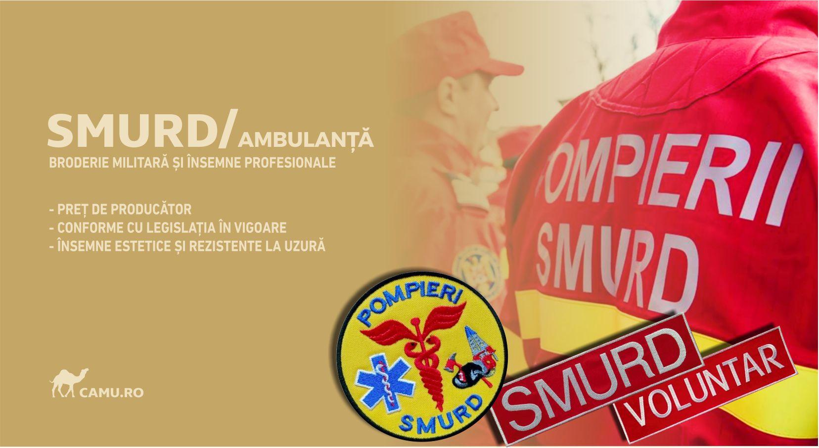 Grade Militare SMURD, Grade Medic, Grade Paramedic, Asistent Medical și alte însemne distinctive pentru uniforma SMURD Ambulanță. *Conforme cu legislația în vigoare.